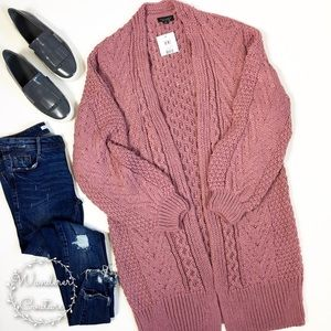 Topshop Long Chunky Cable Knit Cardigan